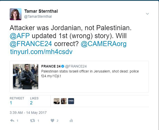 France 24 tweet Pal Jerusalem.JPG