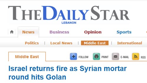 Israel returns fire as Syrian mortar round hits Golan  News , Middle East  THE DAILY STAR.jpg